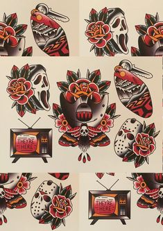 Traditional Thigh Tattoo, American Traditional Tattoos, Traditional Tattoo Flash Art, Traditional Tattoo Halloween, Traditional Tattoo Stencils, Traditional Sleeve, American Tattoos, Book Tattoo, Diy Tattoo