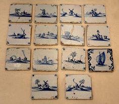 Antique set Delft hand painted tiles
