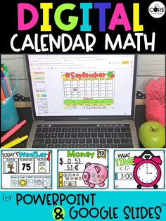 Use this digital calendar math in your primary classroom setting or for distance learning. Pre-loaded onto Google Slides and PowerPoint. Also includes a printable practice sheet for students to practice/reinforce skills.