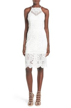 J.O.A. Lace Illusion High Neck Sheath Dress available at #Nordstrom