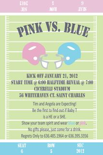 Gender Reveal Party Invitation. Football.