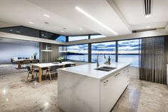 Living area carefully designed to appear floating on the Swan River. Curtains With Blinds, Perth, Living Area, Luxury Homes, Greg Davies, Modern, Kitchen, Table, Natural Light