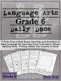 If you're looking for an extensive, spiraling, language arts resource to help your students be lifelong learners, than you have come to right place. Language Arts Daily Dose Grade 6 is designed to teach a skill over 5 days with the student asked to do more each day. This gentle scaffold approach makes this resource student and teacher friendly, making it possible for even reluctant workers to feel success. ($)