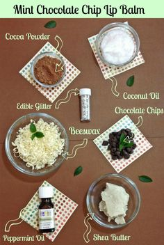 Mint Chocolate Chip Homemade Lip Balm I so want to do this the website has the recipe