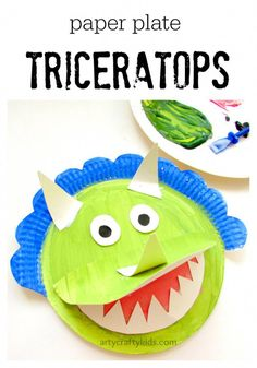 Paper Plate Triceratops -The perfect craft for dinosaur loving kids. Simple and fun, for at home or within a preschool setting. A great extension for kids learning about dinosaurs. Paper Plate Crafts For Kids, Paper Crafts For Kids, Easy Crafts For Kids, Toddler Crafts, Art For Kids, Kid Art, Dinosaurs Preschool, Dinosaur Activities, Craft Activities