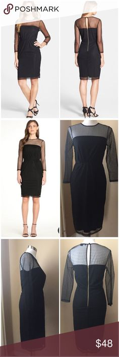 """French Connection Mona Dot Illusion Sheath Dress 6 French Connection Mona Dot Illusion Sheath Dress --- size 6 --- Tiny neat dots pattern the mesh overlay texturing a go-to little black sheath dress --- exposed gold back zipper --- 39.5"""" length --- poly/nylon --- 14"""" shoulders --- 13.5"""" waist --- 17.5"""" hips --- like new condition French Connection Dresses"""
