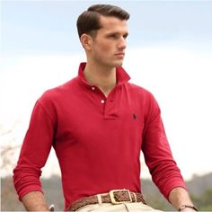 Ralph Lauren Long Sleeved Soft Mesh Men Red Polo http://www.ralph