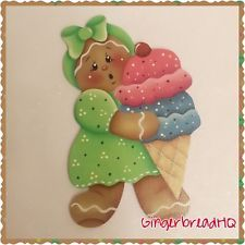HP Handpainted  gingerbread girl , Ice cream,  Wooden christmas ornament