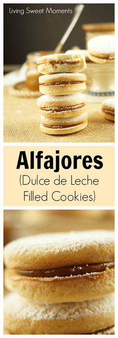 Alfajores Recipe - they are delicate shortbread cookies filled with dulce de leche. These cookies use cornstarch as a main ingredient. Great with coffee. More cookie recipes at livingsweetmoment. Cookies Fourrés, Filled Cookies, Cookies Et Biscuits, Yummy Cookies, Yummy Treats, Yummy Food, Sweet Treats, Sandwich Cookies, Delicious Recipes