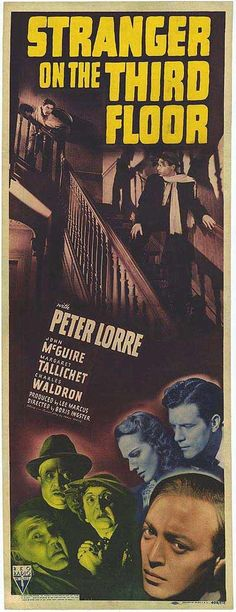 Stranger on the Third Floor is a classic example of noir, with its unsettling urbanism, diagonal compositions, low-camera angles and multi-storey staircases; these elements are reflected in the film's poster. The story follows an innocent protagonist falsely accused of murder and his desperate quest to clear his name.