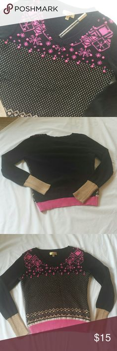 """Vera Wang Princess Sweater (juniors) Pink, black and gold V-neck sweater. Top front has pink snowflake designs with small pink puffs. Hearts made with gold follow, end is a pink band. Sleeves black with gold trim at the end.  Length - 22"""" , sleeve - 24"""". Princess Vera Wang  Sweaters V-Necks"""