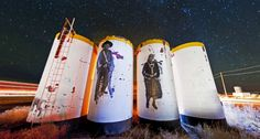 from The Art of the Rural - Click through to see a beautiful panorama by Gary O'Brien of Jetsonorama's wheat paste installation in Cameron, Arizona.