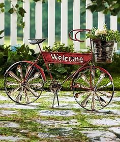 Bicycle Planter Decor WELCOME Basket Vintage Outdoor Patio Decorative Yard New  #Unbranded