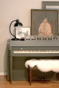 Industrial Lamp, Thrifted & Painted Piano, Portrait Painting, Sheepskin, Michelle Smith's Home