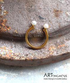 Δαχτυλίδι επίχρυσο με μαργαριτάρια