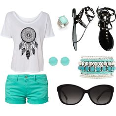 """teal summer outfit"" teal shorts and jewelry with a dreamcatcher shirt and accessories"