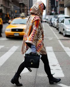 Vintage blankets repurposed as cloaks, hitting it big on the streets of New York