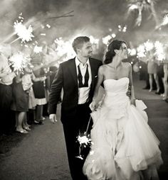 """Sparkler Wedding Exit. And we will let go of a floating lantern with """"Mr. And Mrs. _____"""" before we leave"""
