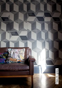 Tapete: Tiles D, grey  - TapetenAgentur Selected Designtapete von Deborah Bowness