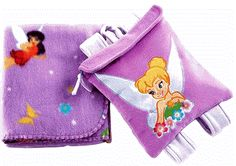 "Disney Fairies Tinker Bell Travel Blanket with Toddler Backpack:   Perfect for toddlers on the go! This child-sized velour backpack with applique and zipper closure PLUS a soft and cuddly printed fleece blanket!  Product features:     •Blanket measures 30"" x 43""  •Backpack measures 8.5"" x 10""  •Soft and cuddly printed fleece blanket  •Two piece toddler blanket/backpack set!  •Both items made from 100% polyester fabric  •Child-size velour backpack with applique and zipper closure"