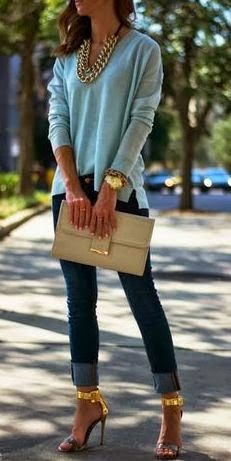 I like the pastel blue top and the jeans