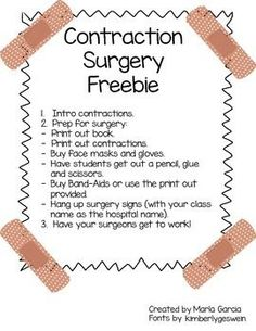 surgery freebie The all popular contraction surgery!THE THE may refer to: 2nd Grade Grammar, 2nd Grade Ela, First Grade Phonics, Grade Spelling, First Grade Writing, 2nd Grade Teacher, First Grade Reading, Second Grade, Grade 2