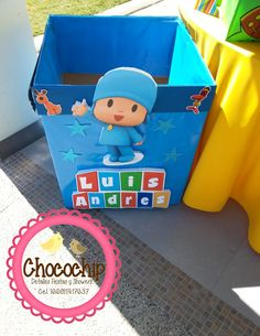 caja para regalos pocoyo                                                                                                                                                                                 Más Girl First Birthday, Baby Birthday, Birthday Parties, Ideas Para Fiestas, Circus Party, Childrens Party, Holidays And Events, Baby Boy Shower, First Birthdays