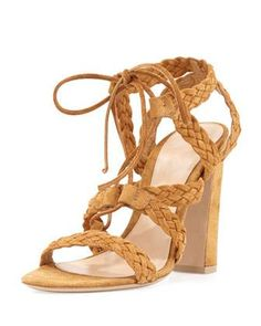Chunky heel suede braided lace-up sandal