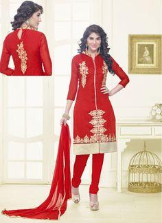 Chanderi Cotton Red Colored Churidar Salwar Suit
