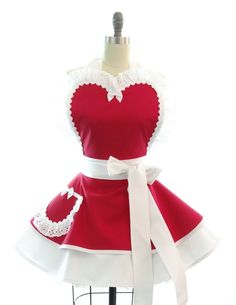 Wedding Day Bridal Apron in Radiant Red