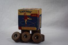 Vintage 1940s Chicago Wooden CHICAGO ROLLER SKATE Wheels #87 SPL MAPLE WOOD #ChicagoRollerSkateCo