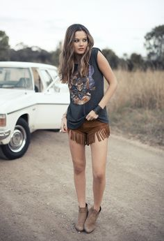 Myocum fringed shorts, rock tee, ankle boots  leather cuff. Boho grunge style. (Spell  the Gypsy Collective)