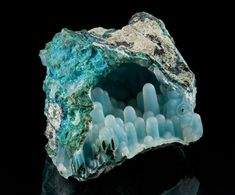 "therockymineralshow: "" Chalcedony with Chrysocolla Stalactites """