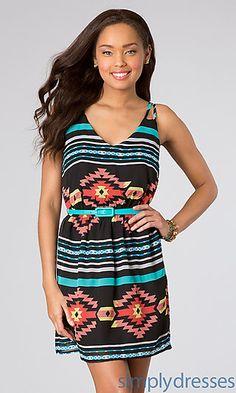 Short Sleeveless Print Dress at SimplyDresses.com