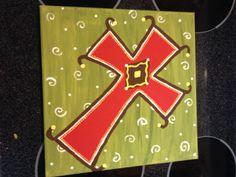 DIY canvas cross painting