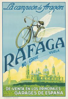 An poster sized print, approx (other products available) - Poster advertising Rafaga bicycles. they fly! Available from all the main garages in Spain. - Image supplied by Mary Evans Prints Online - Poster printed in the USA Garages, Stock Pictures, Stock Photos, Spanish Posters, Bicycle Brands, Vintage Cycles, Poster Ads, Framed Prints, Canvas Prints