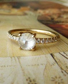 White Rose Cut Diamond Ring  Custom for cmaybee43 by kateszabone, $500.00