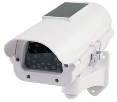 Dummy Camera Professional looking CCTV dummy camera helps to ensure unwanted visitors refrain from entering your property. Constant red flashing light.