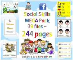 Social Skills MEGA Pack Worksheets, Programme and Posters - PDF file244 pages of social skills/behavior management resources. The best of Clever Classroom's social skills resources plus some new ones, all in one MEGA Pack! Follow our store as we have even more MEGA pack on the way! 39 files have been combined to form one large file with the following resources: $