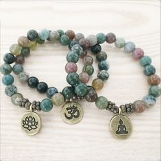 Natural Indian Agate Buddha Bead Bracelet