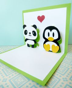 Panda and Penguin In Love Pop Up Card. $7.85, via Etsy.