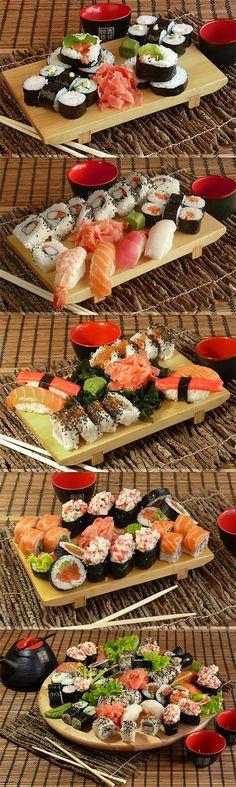 maki, nigiri, california maki, sashimi, philadelphia maki, temaki, gunkan maki... <3  http://www.groupon.pl/oferty/warszawa/Izzy-Sushi/8405441