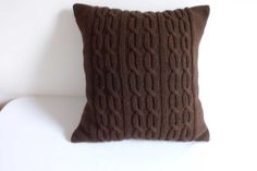 Hand knit pillow case dark brown cable knit by Adorablewares