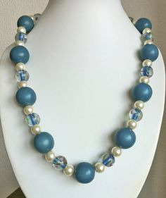 Teal wood & ivory pearl necklace