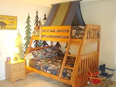tent camp themed twin bed