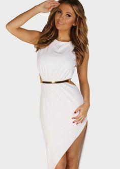 Clothing : Maxi Dresses : Gabriella White Backless Maxi Dress w Bell. Pretty hot