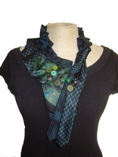 Black/ green Victorian upcycled necktie collar/ scarf by solmode1, €70.00