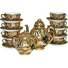SATSUMA - 'SEVEN IMMORTALS' - Japanese Moriage Meiji Tea Set for 8 - 24Karat Gold Trim