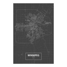 Shop Winnipeg, Manitoba (white on black) Poster created by routelines. City Outline, Corner Designs, Custom Posters, Custom Framing, Keep It Cleaner, Let It Be, Artwork, Map, Prints
