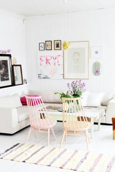 Pale Wooden Chairs and Modern/Clean Sectional. Pastels #Decor